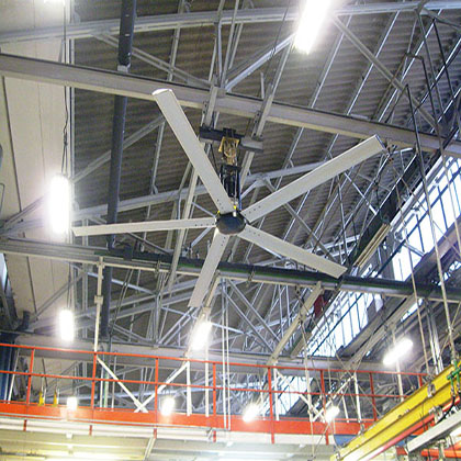 Shopping areas and arena's benefit from having these wide diameter fans comfortably and efficiently increasing the air circulation.