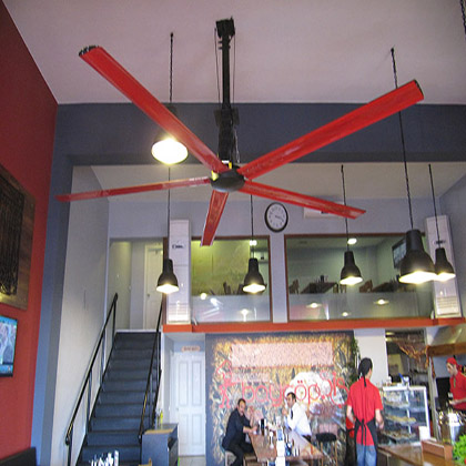 Restaurants benefit from a high volume low speed fan to aid in the dispersing of cigarette, shisha, smells and other airborne particulate without the sometimes disruptive direct flow of conventional fans.